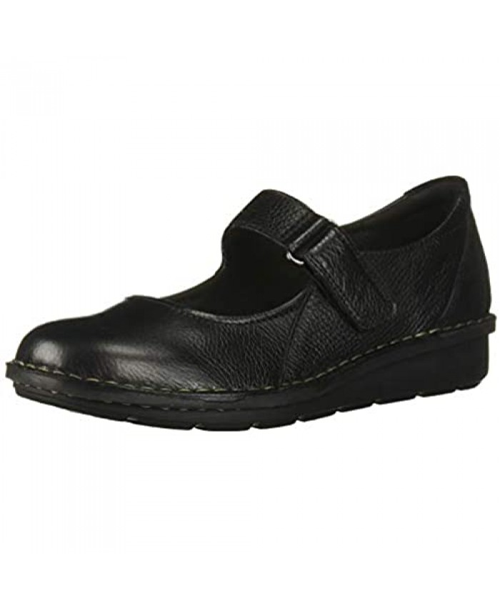 Clarks womens Michela Penny Mary Jane Flat Black Leather/ Suede Combi 8.5 Wide US