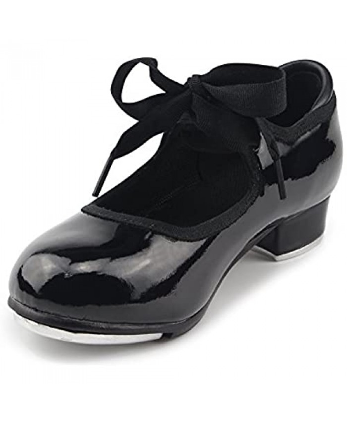 MSMAX Patent Character Mary Jane Flexible Dance Tap Shoes (Little Kid/Big Kid/Women)