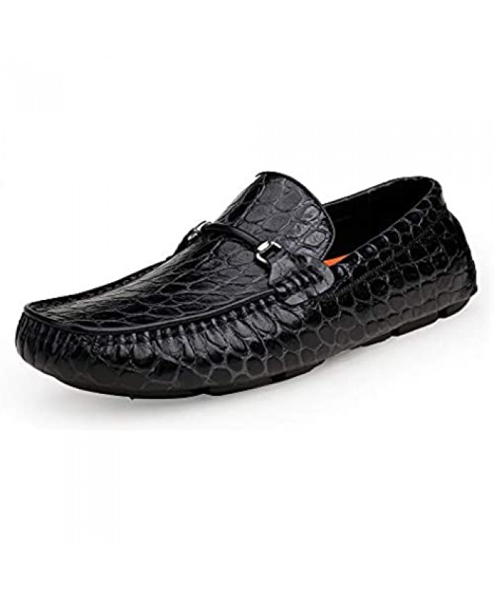 ERGGU Men's Leather Driving Moccasin Crocodile Printed Slip-on Softsole Dress Shoes