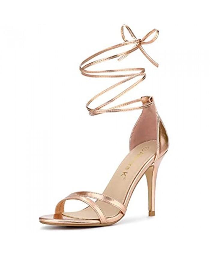 Allegra K Women's Open Toe Lace Up Stiletto Heels Sandals