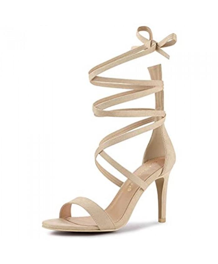 Allegra K Women's Open Toe Stiletto Heel Lace Up Heels Sandals