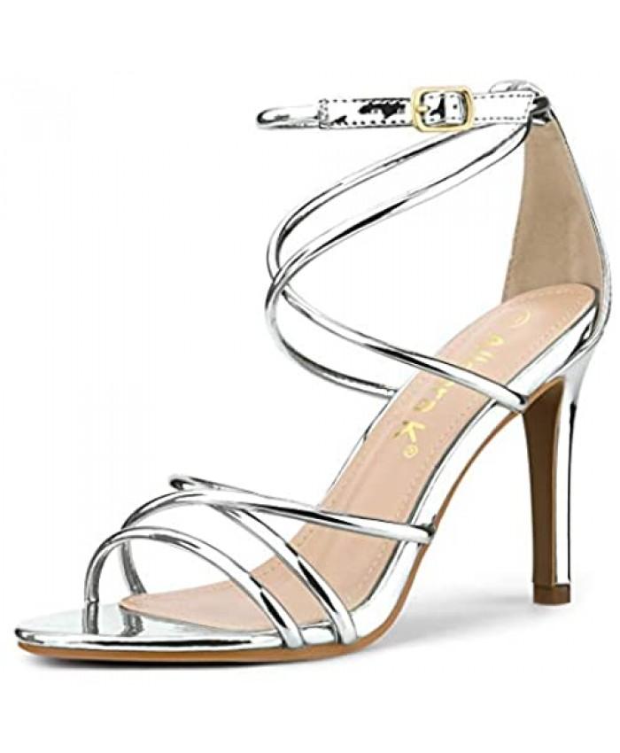 Allegra K Women's Open Toe Strappy Straps Stiletto Heel Sandals