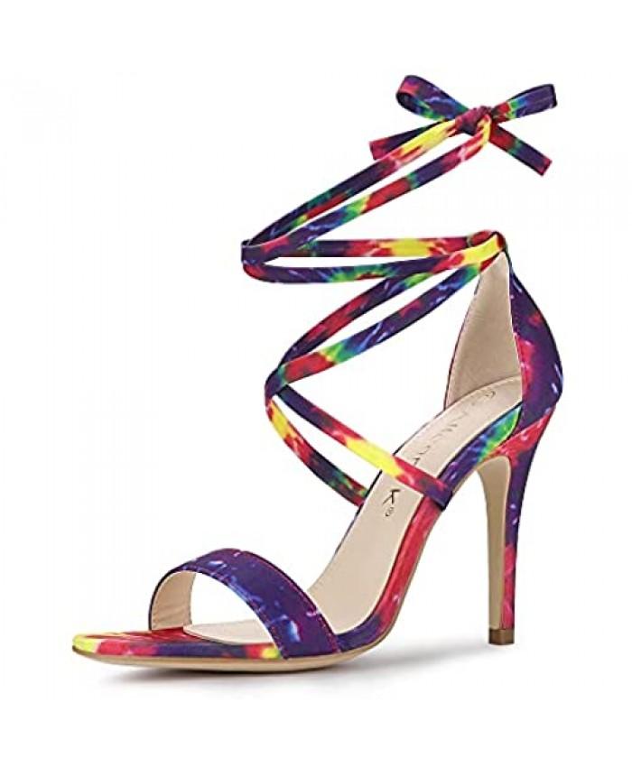 Allegra K Women's Tie Dye Lace Up Stiletto Heel Sandals