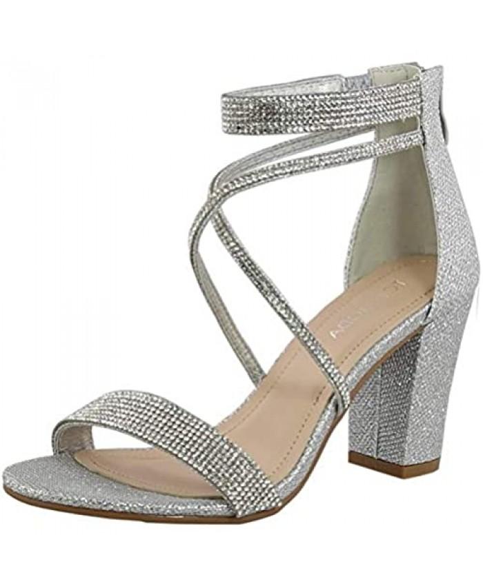 Women's Formal Rhinestone Chunky Block Heel Sandal Crisscross Strappy Silver 5.5