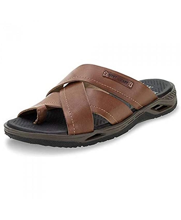 Mens Cross Strap Slide Leather Sandals Rubber Sole Non Slip