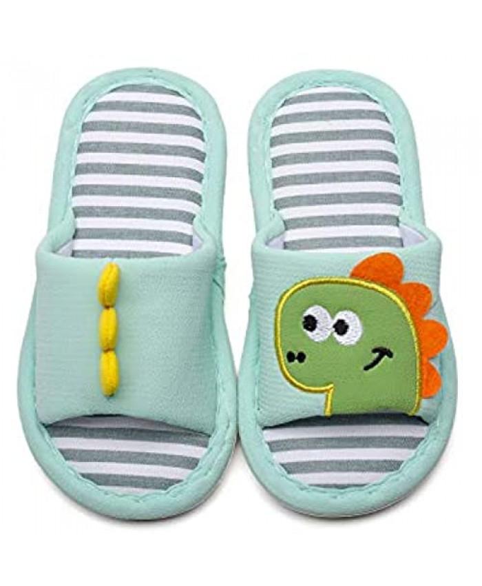 MEMON Toddler House Slippers Dinosaur Shoes For Boys Open Toe Cotton Linen Comfort Slip on Indoor Home Slippers for Girls and Boys
