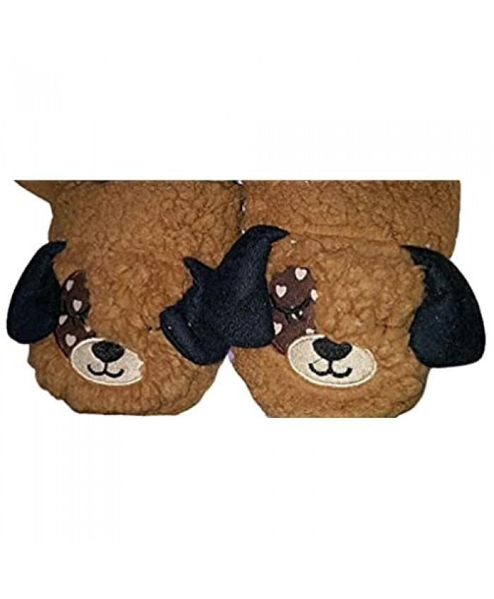 Memory Foam Kids Animal Slipper (13-1(M) Brown/Black)