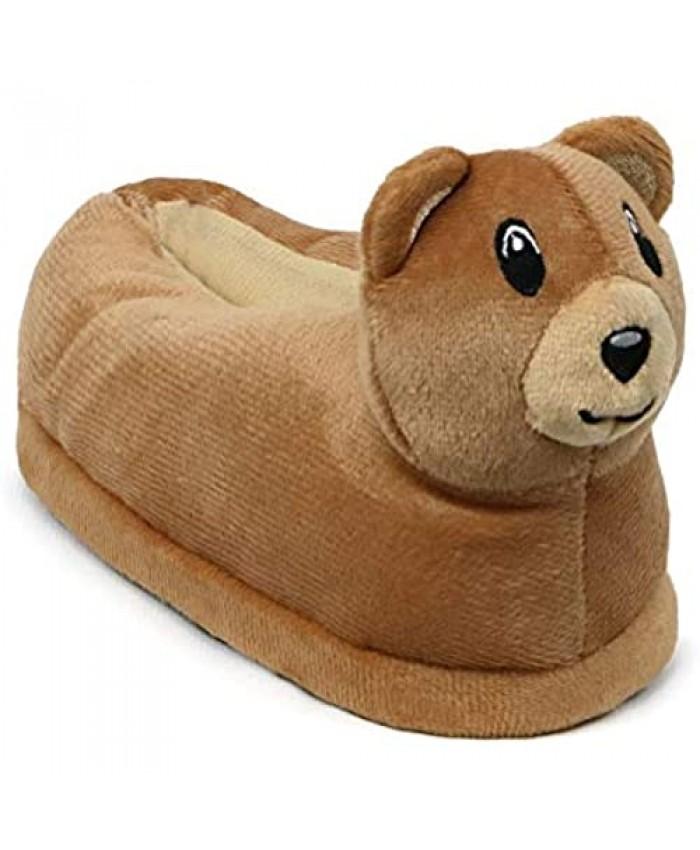 Zac & Evan Boys Indoor House Shoes Toddler Animal Plush Slipper