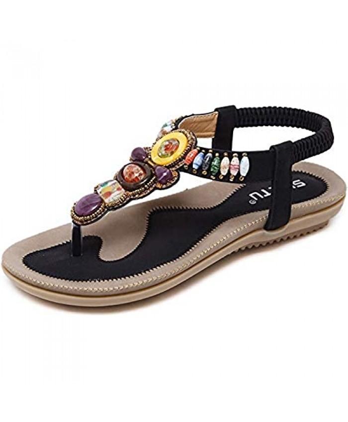 Women's Bohemian Rhinestone Thong Sandal Elastic Back Strap Clip Toe Flats Sandals for Beach Holiday Black