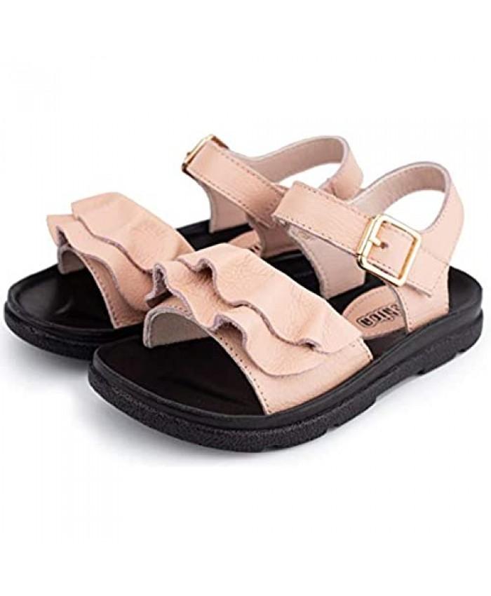 Folltoshe Girls Leather Sandals Cute Open Toe Ruffle Fashion Flat Princess Sandals Hook and Loop Summer Shoes (Toddler/Little Girls)