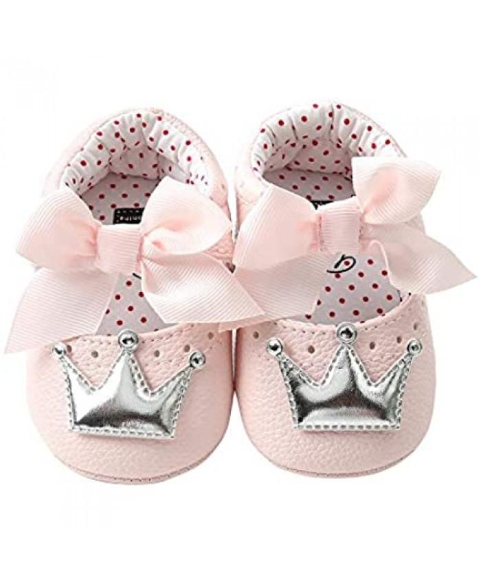 HONGTEYA Baby Girls Mary Jane Princess Dress Flat Shoe PU Leather Infant Toddler Moccasins Sandals