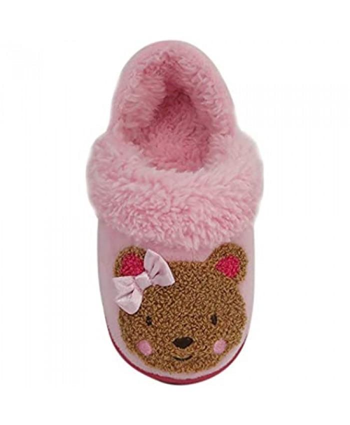 Wonder Nation Pink Chenille Teddy Bear Toddler's Slipper sz