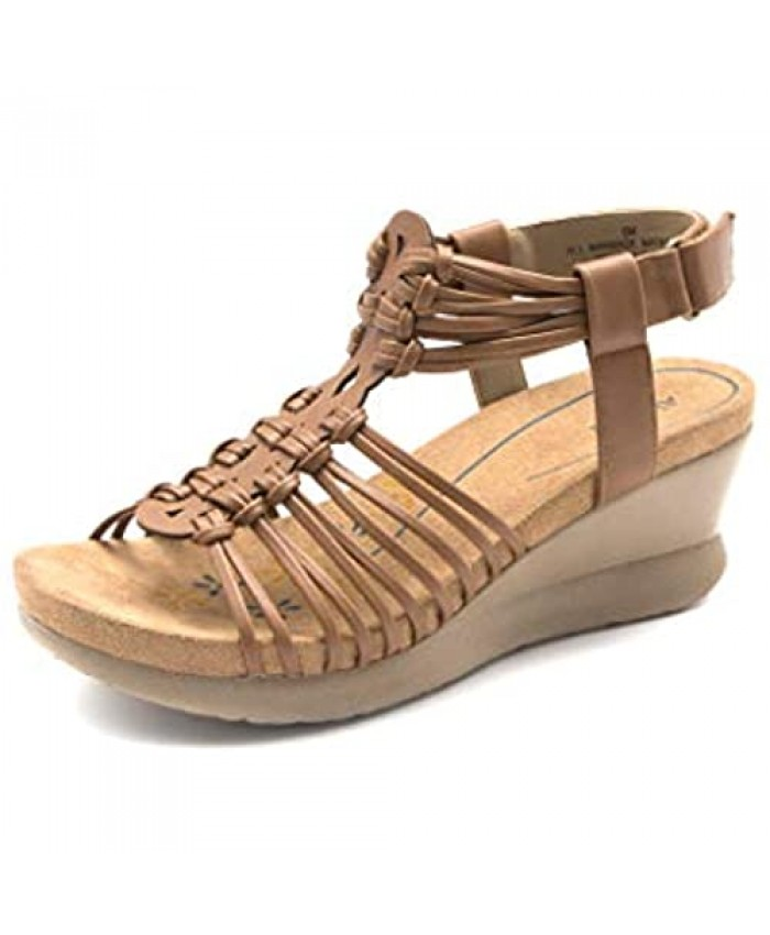 Alaruba Women's Adjustable Hook and Loop Woven Straps Wedge Sandal Faux Leather Laser cut and Delicate Upper