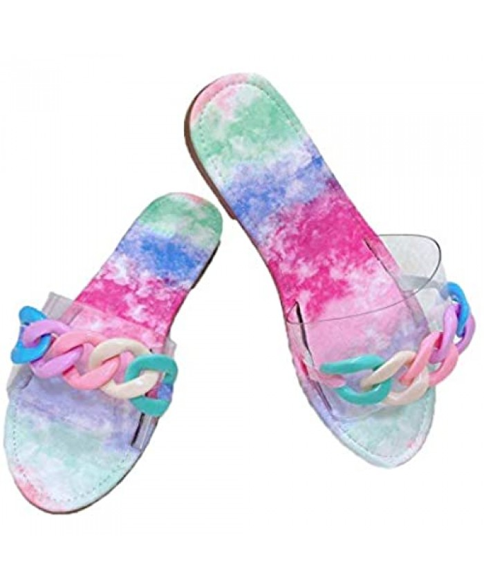 Womens Summer Glitter Candy Color Chain Clear Slides Flat Low Wedge Sparkle Sandals Shoes