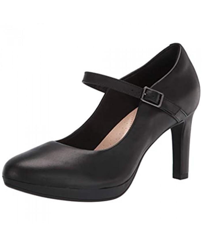 Clarks womens Ambyr Shine Pump Black Leather 8.5 US