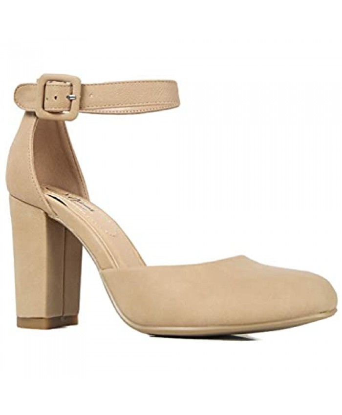 J. Adams Cuppy Heels for Women - Round Closed Toe Ankle Strap Chunky High Heel