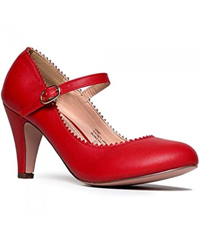 J. Adams Honey Heels for Women - Round Toe Scalloped Edge Retro Mary Jane Pumps