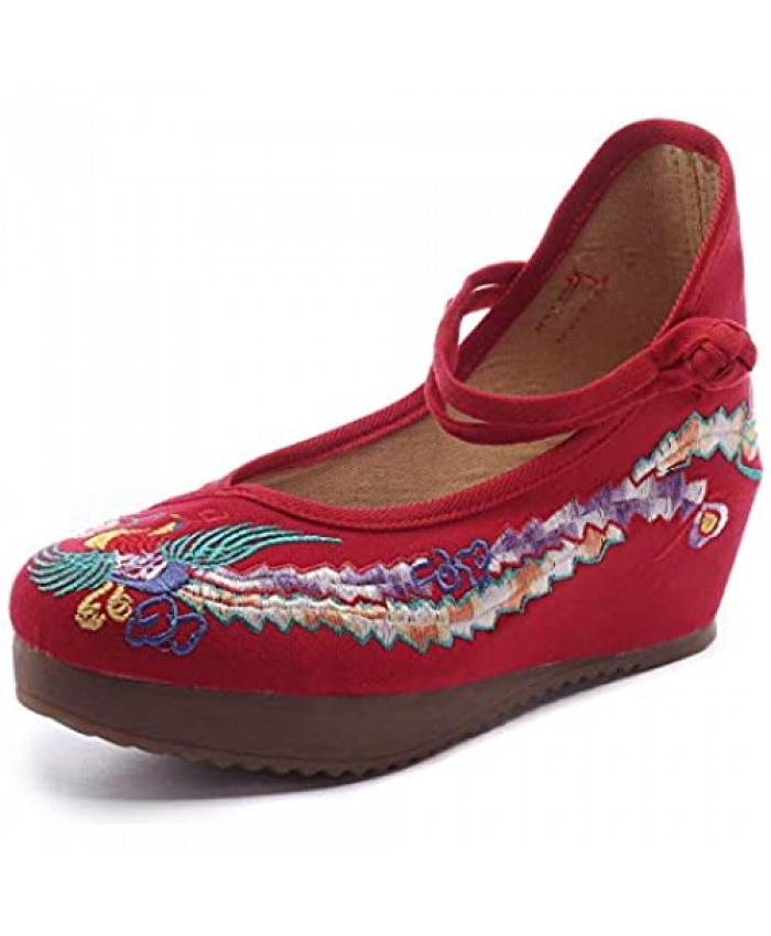 Qhome Women's Chinese Phoenix Embroidered Oxfords Rubber Sole Cheongsam Shoes